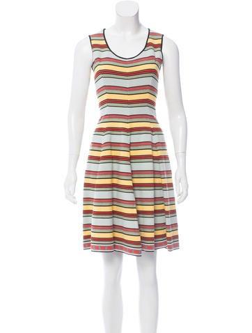 Fendi Striped Fit & Flare Dress None
