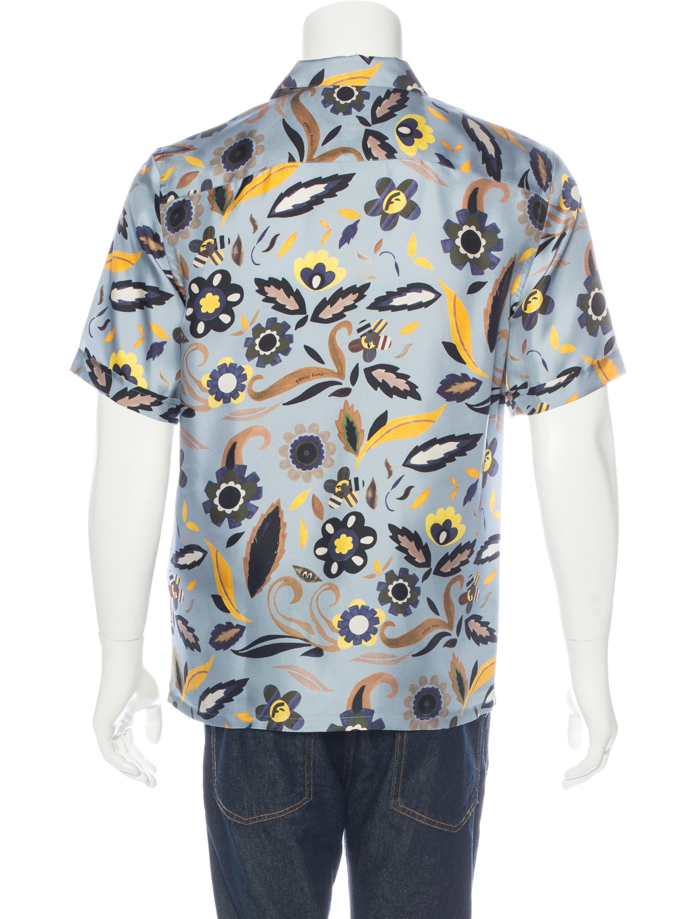 Fendi floral print silk shirt mens shirts fen57647 for Flower print mens shirt