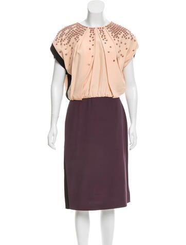 Fendi Pleated Embellished Dress None
