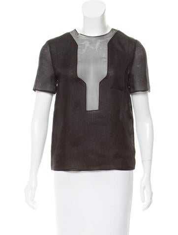 Fendi Silk Semi-Sheer Top None