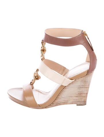 Fendi Chain-Link Wedge Sandals None