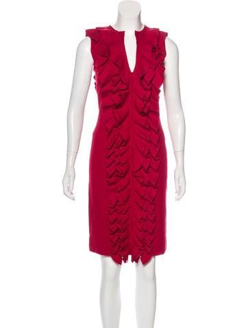 Fendi Ruffle-Trimmed Wool Dress None