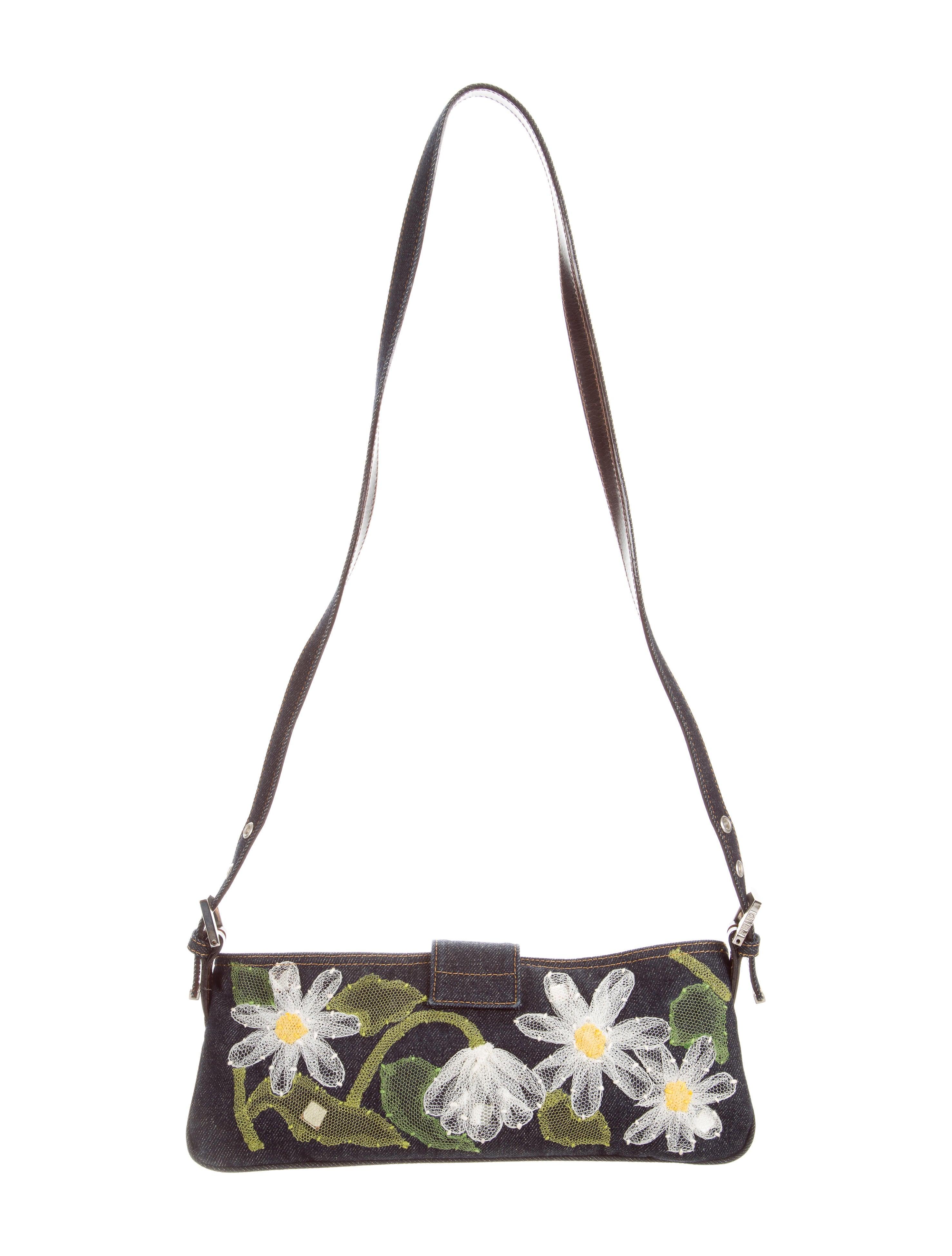 Fendi floral embroidered denim bag handbags fen
