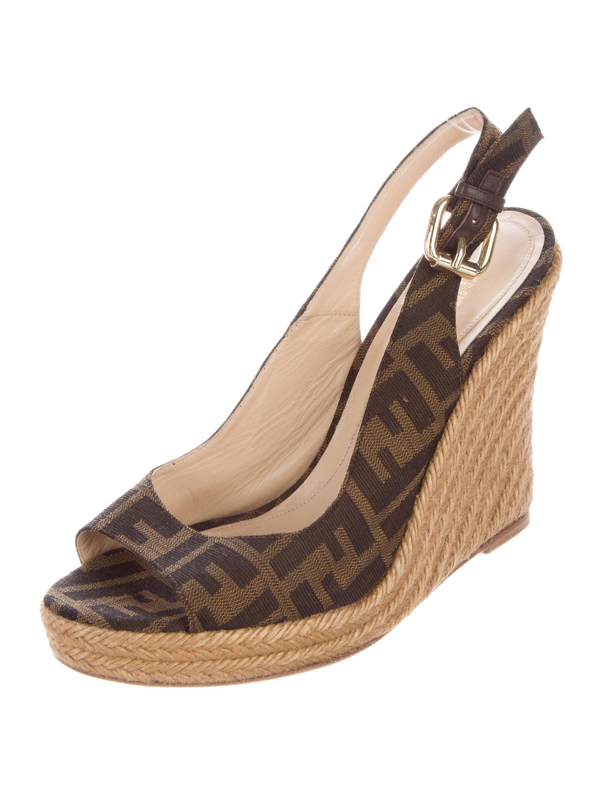 fendi zucca slingback espadrille wedges shoes fen60277