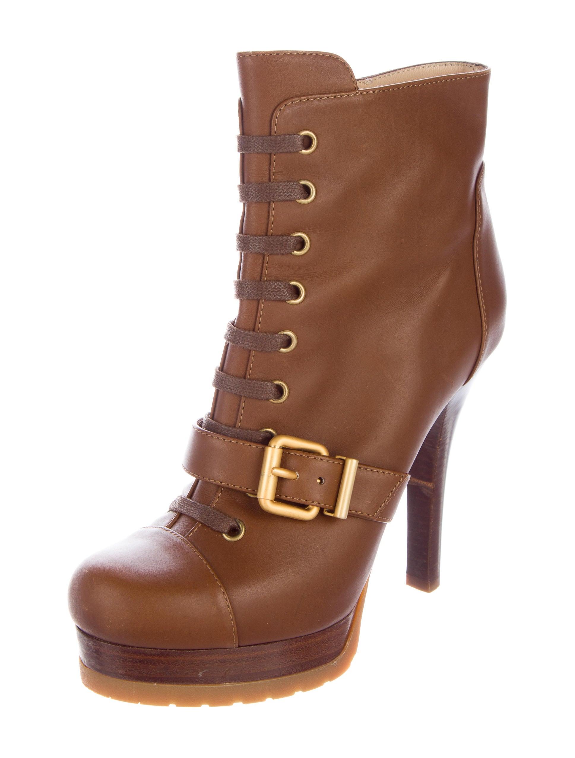 fendi leather platform boots shoes fen60590 the realreal