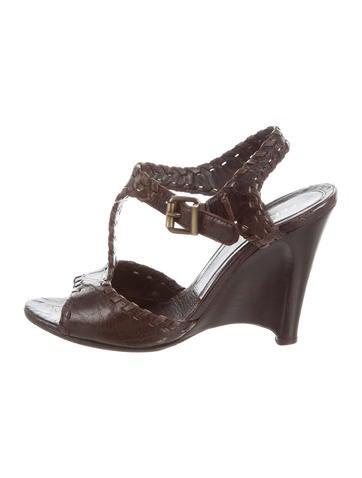 Fendi Leather Wedge Sandals None
