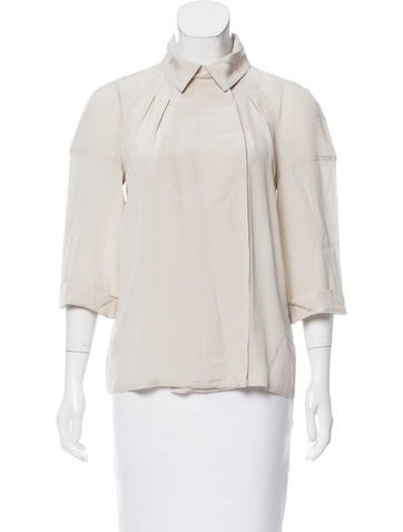 Fendi Short Sleeve Silk Top None
