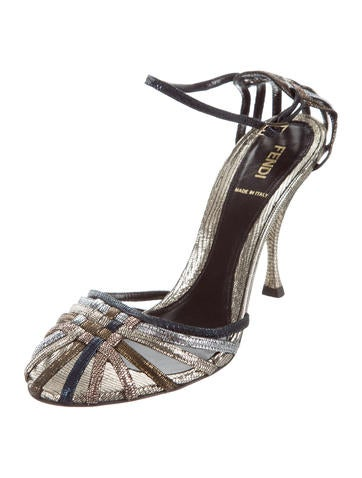 Fendi Metallic Ankle Strap Sandals free shipping clearance store PmtecPTbpY