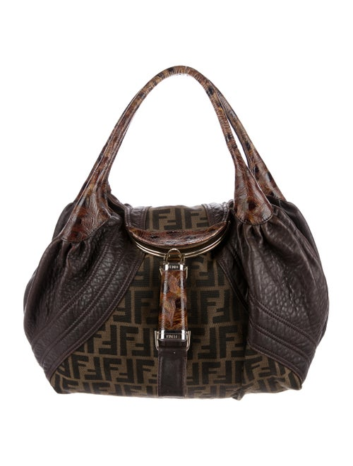 3dd86f5303f Fendi Zucca Print Canvas and Tortuga Small Spy Bag - Handbags ...