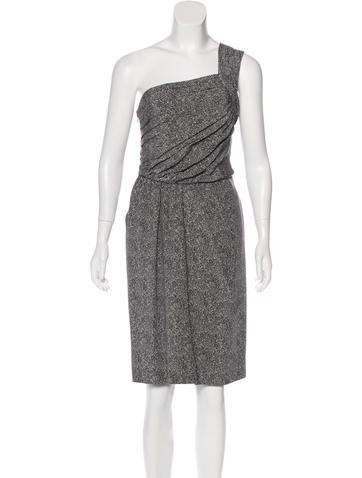 Fendi One-Shoulder Silk Dress None