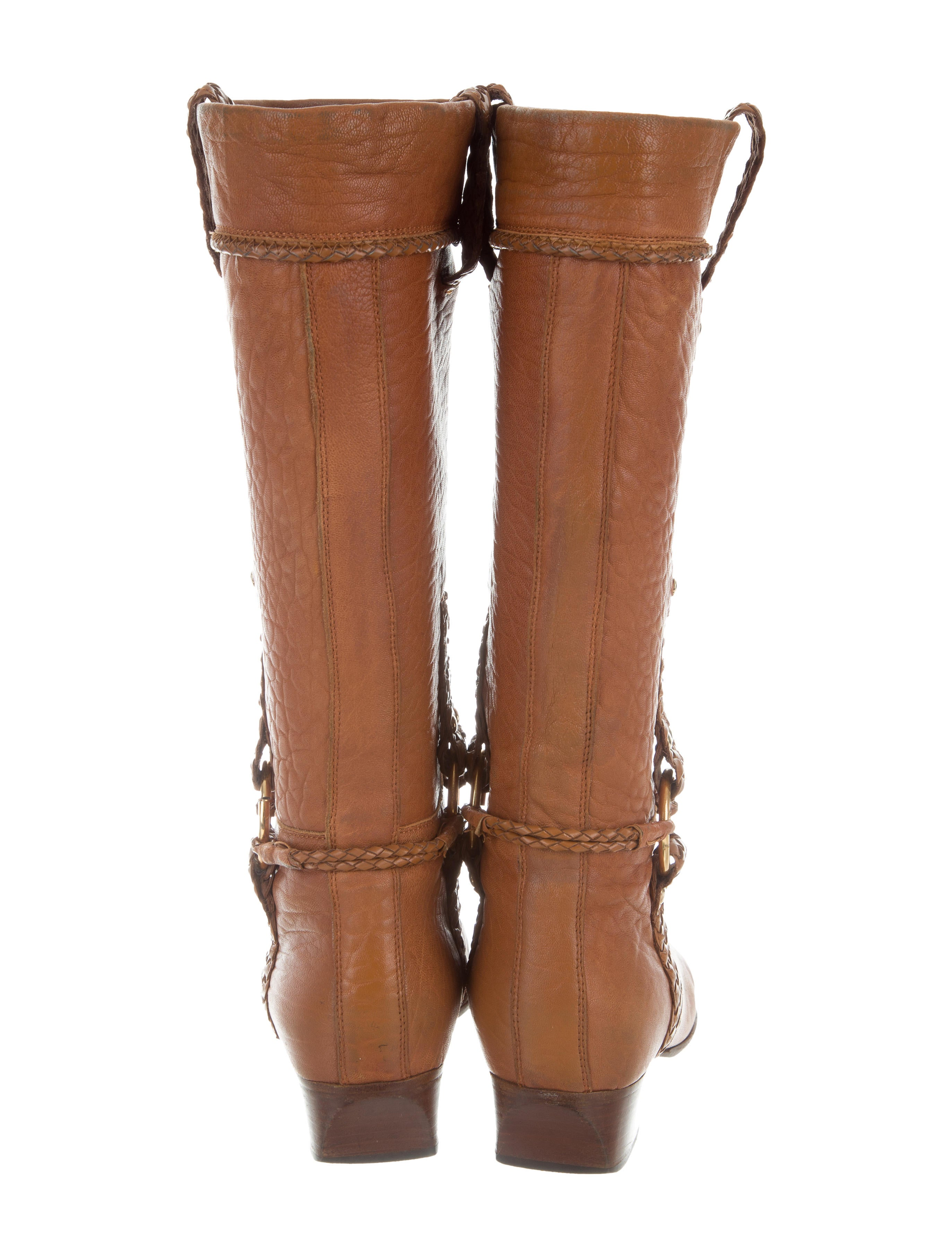 fendi leather mid calf boots shoes fen62993 the realreal