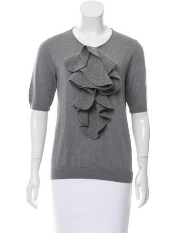 Fendi Wool Ruffle-Trimmed Top None