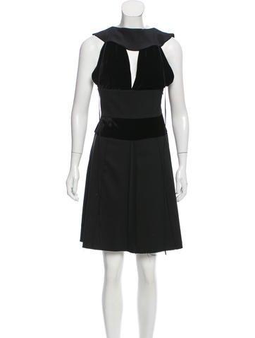 Fendi Wool Velvet-Trimmed Dress None