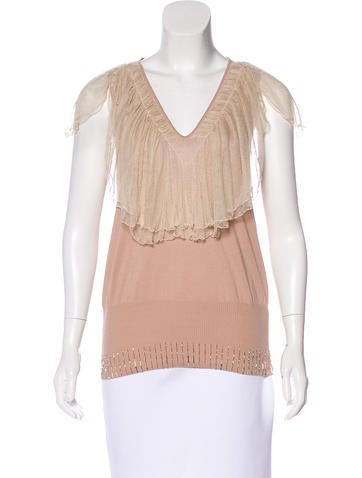 Fendi Mesh-Accented Knit Top None