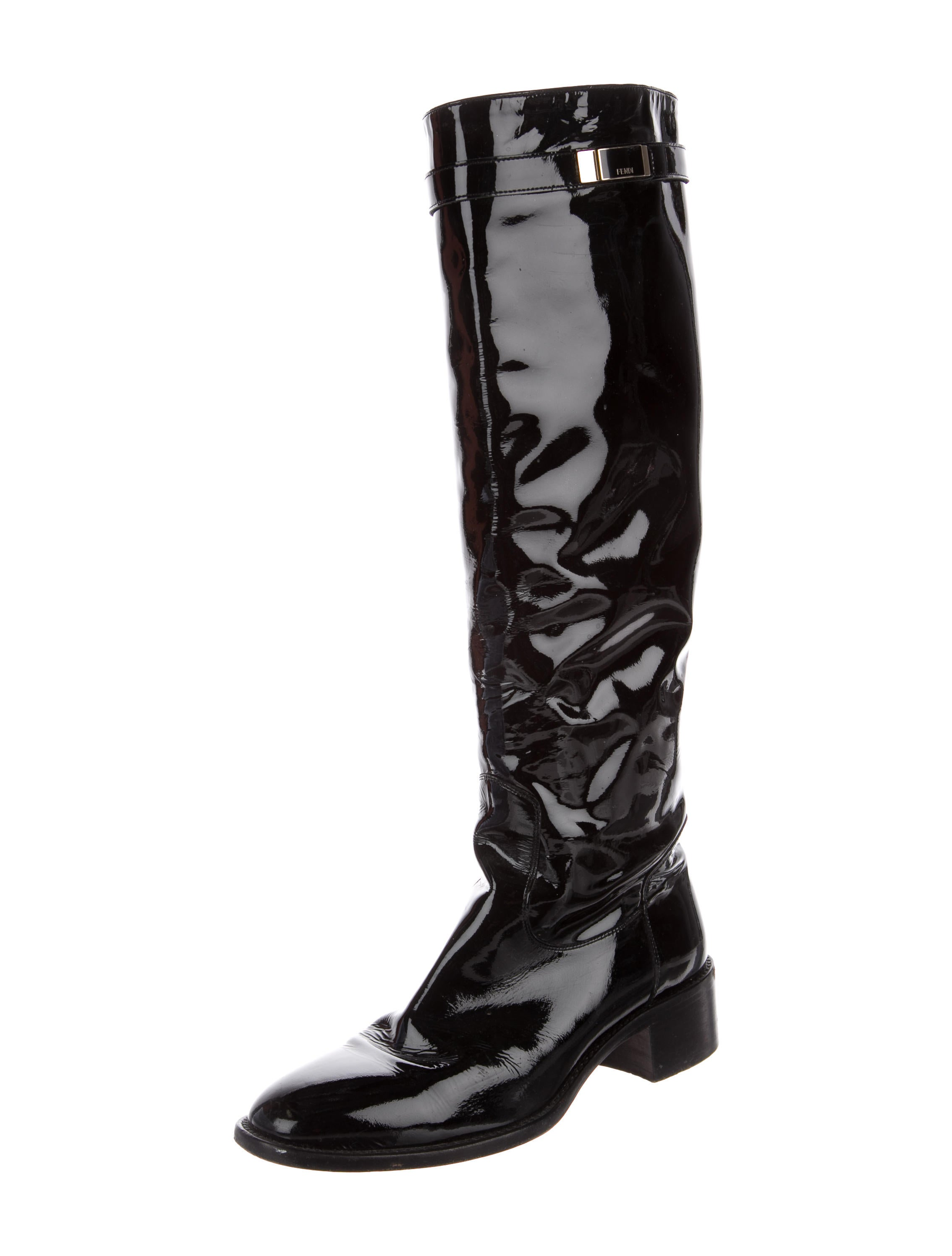 fendi patent leather knee high boots shoes fen64325