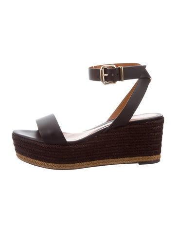 Fendi Leather Espadrille Wedges None