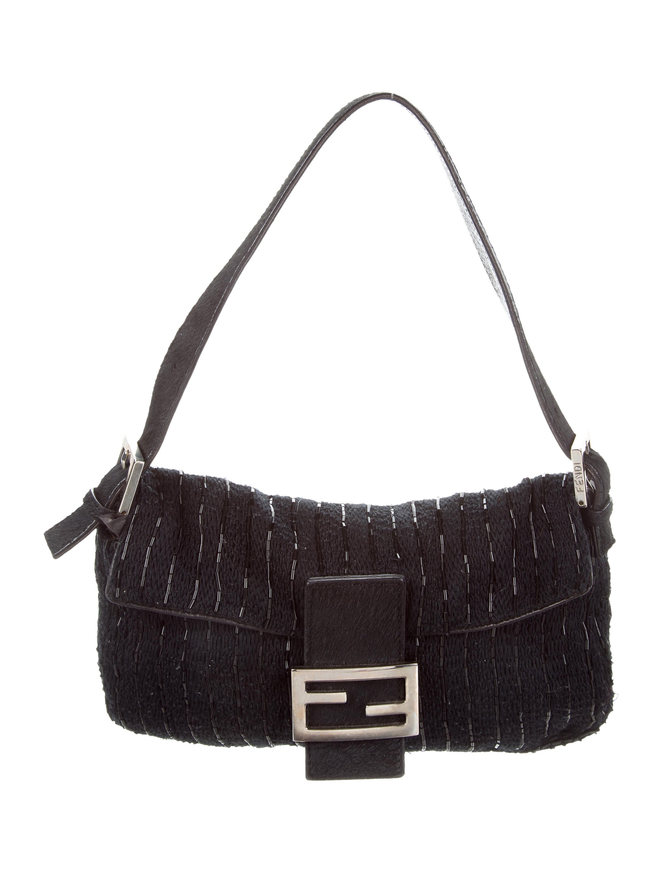 3d4afc60f78 Fendi Ponyhair-Trimmed Embellished Baguette - Handbags - FEN65535   The  RealReal