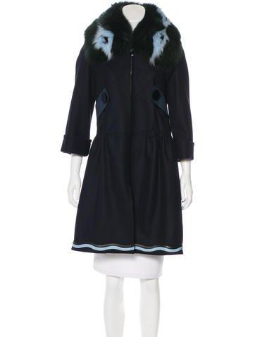 Fendi Fur-Trimmed Wool Coat None