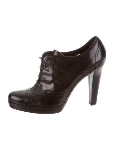 Fendi Leather Lace-Up Booties None