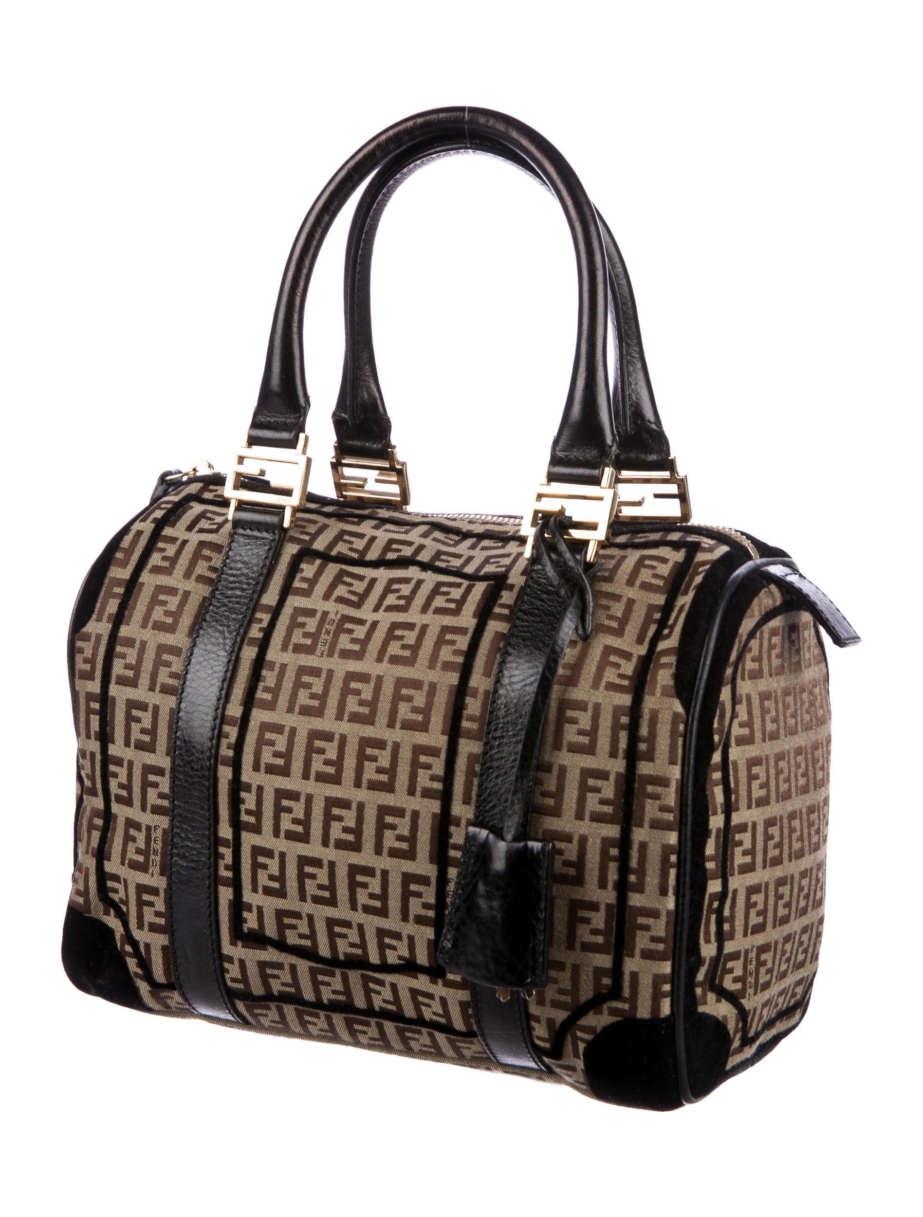 Boston Bag Patchwork Tutorial: Fendi Velvet-Trimmed Zucca Boston Bag