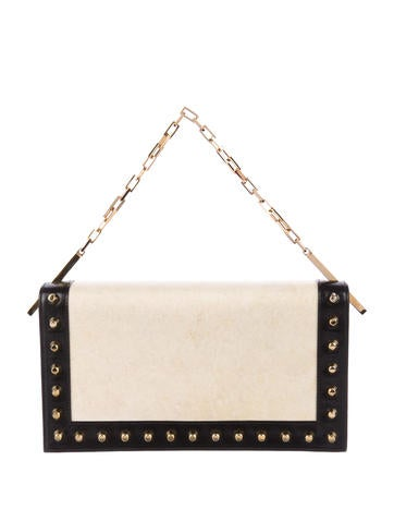 Fendi Leather-Trimmed Studded Handle Bag None