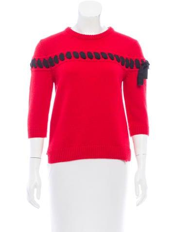 Fendi 2017 Ribbon-Trimmed Cashmere Sweater None