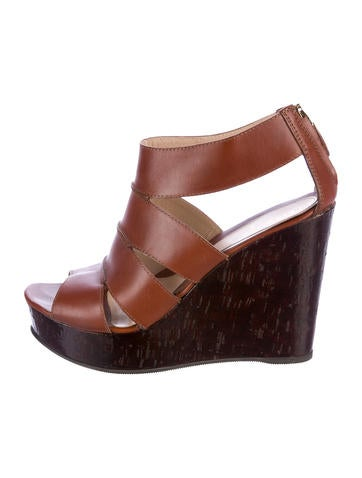 Fendi Leather Wedge Sandals None