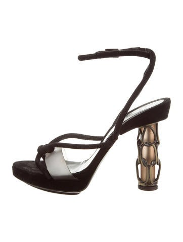 Fendi Suede Chain-Link Sandals None