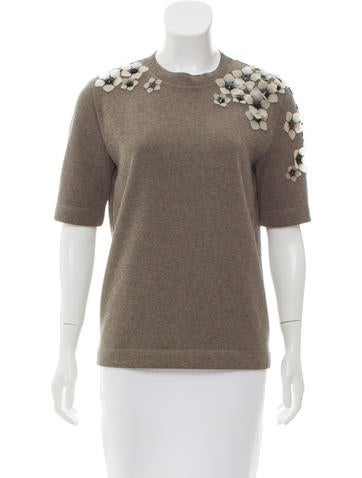 Fendi Floral Appliqué Crew Neck Top None