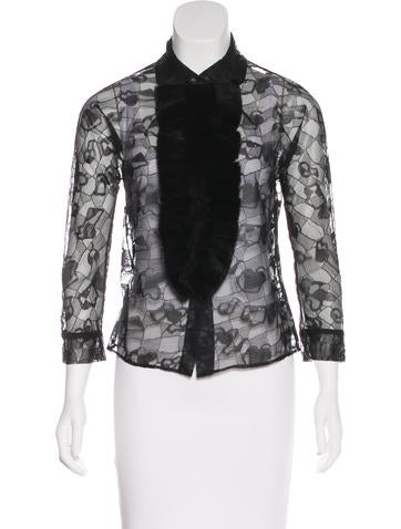 Fendi Fur-Trimmed Lace Top None