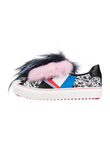 Fendi Flynn Fur-Trimmed Sneakers None