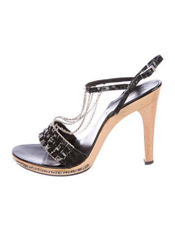 Fendi Leather Ankle-Strap Sandals None