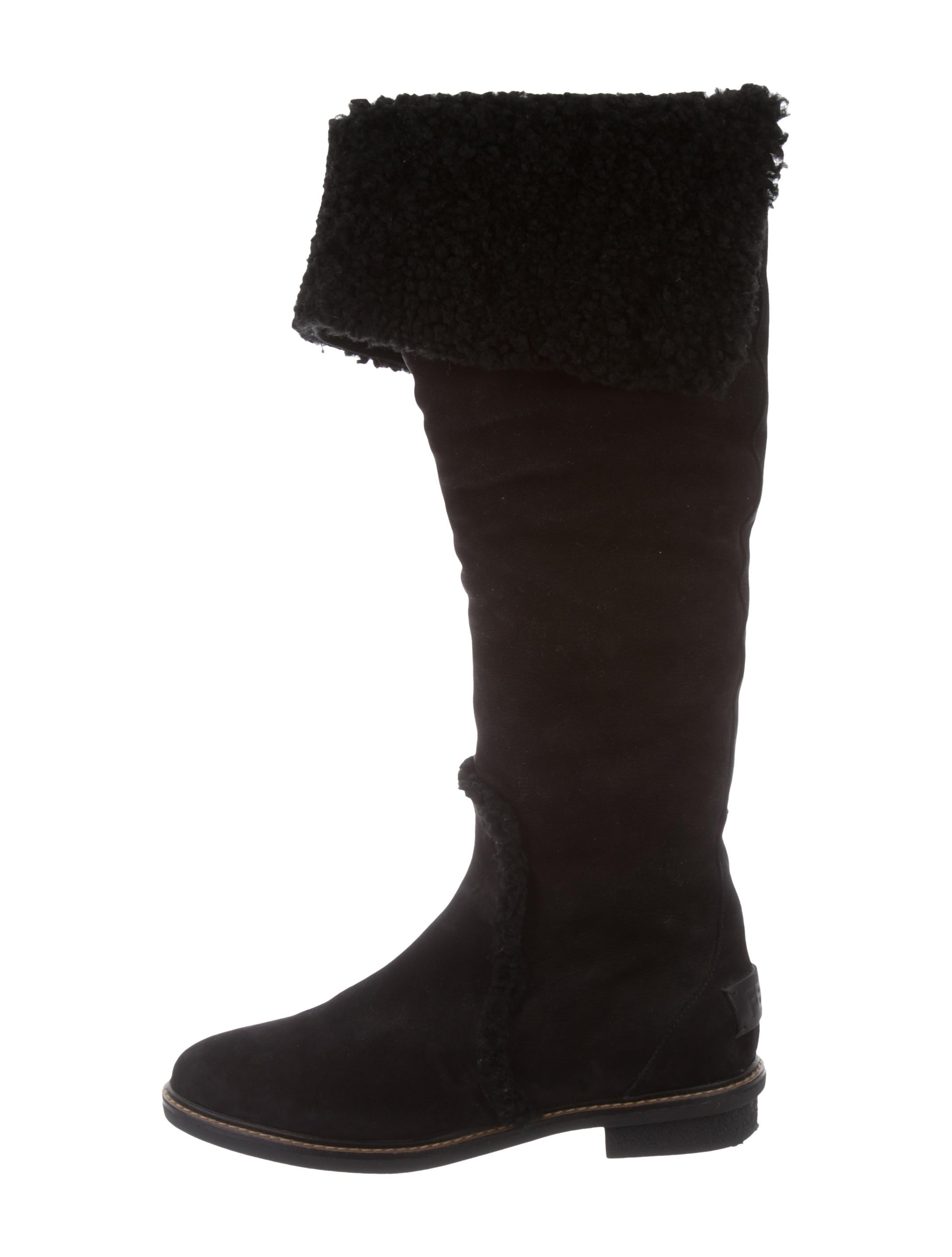 wholesale price for sale Fendi Shearling-Trimmed Knee-High Boots amazing price cheap online cheap sale reliable fashion Style AAOfzeqsK