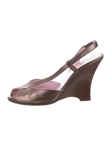Fendi Metallic Wedge Sandals None