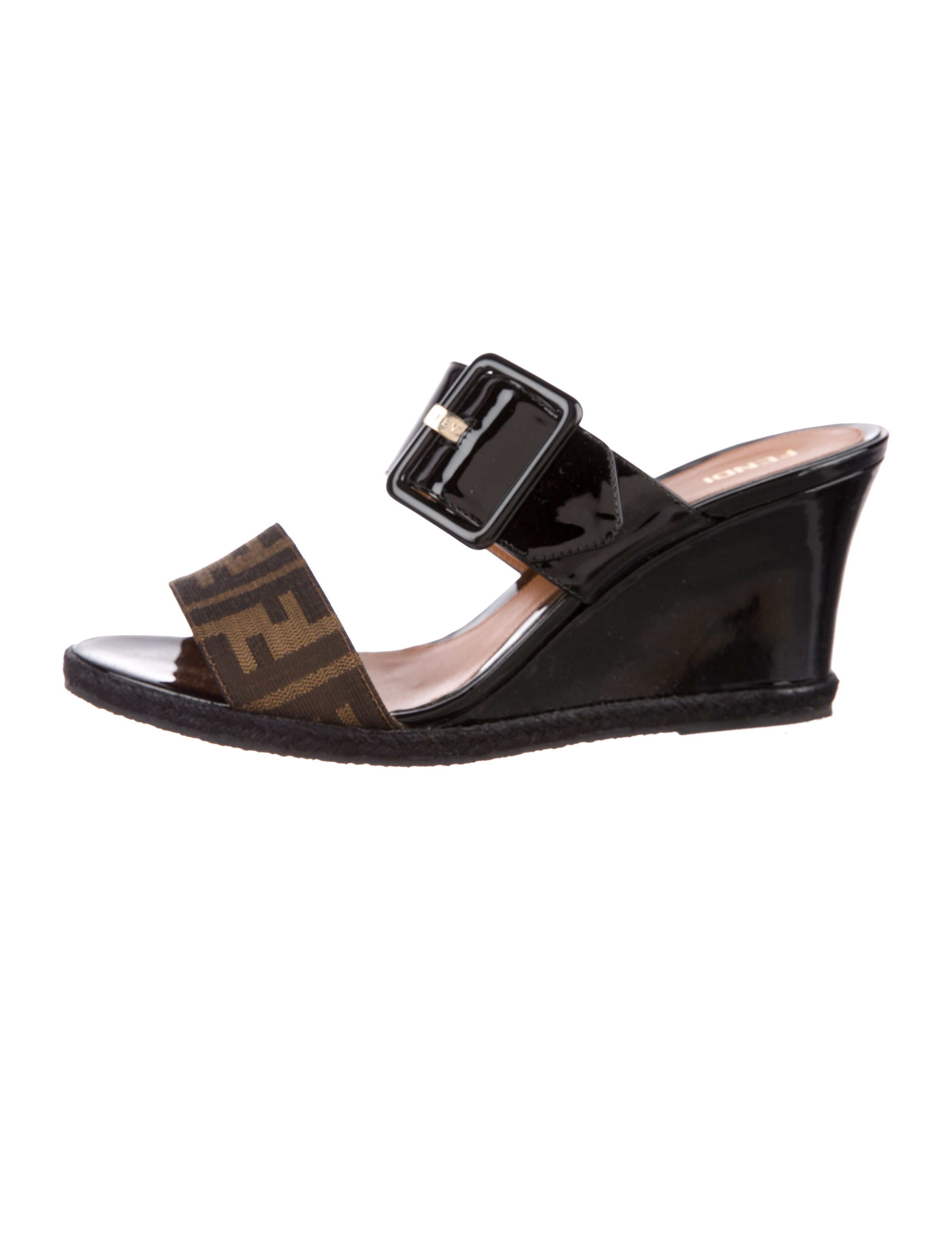 1dbf9ee0c72 Fendi Zucca Patente Leather Sandals - Shoes - FEN75537