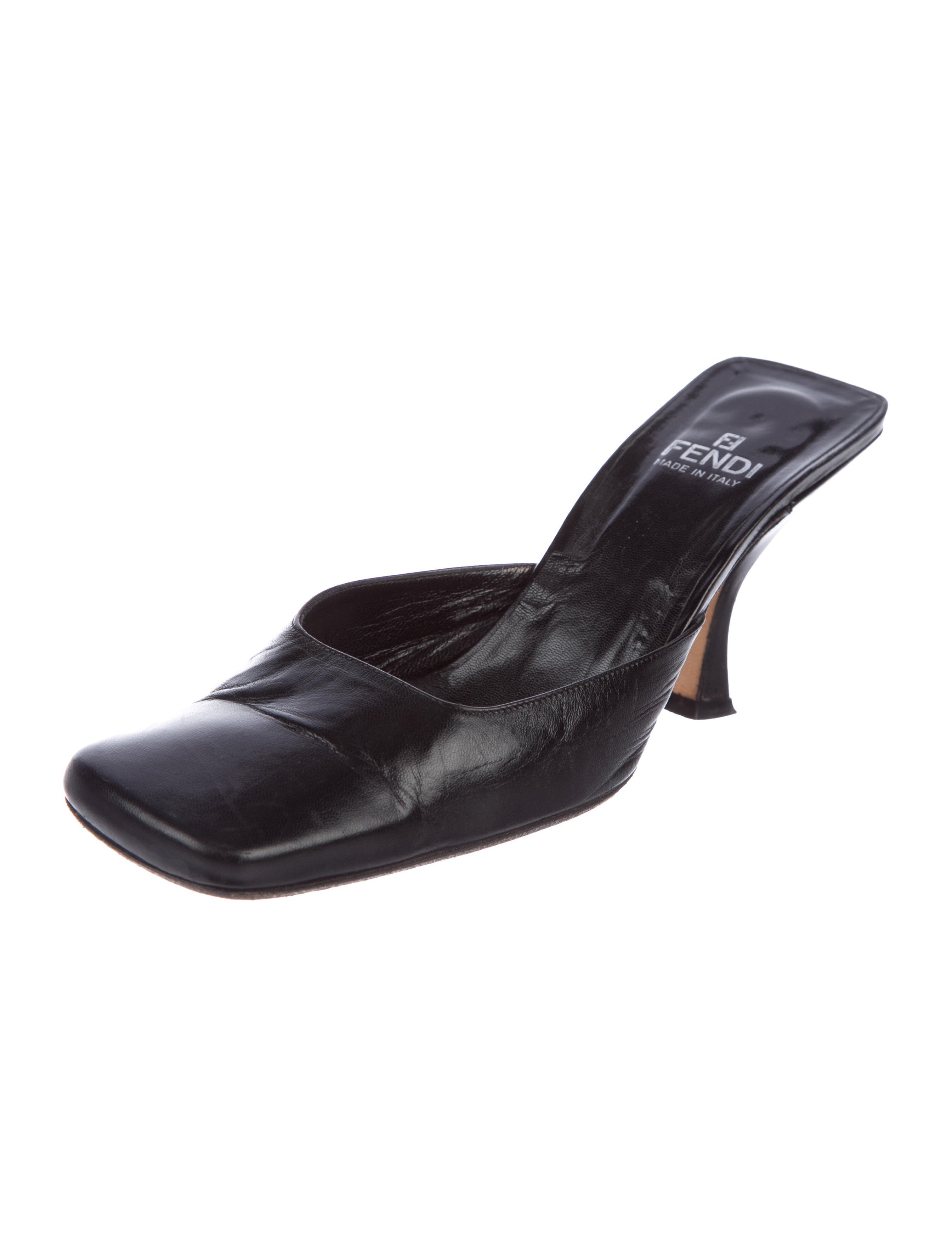 Fendi Leather Square-Toe Mules for sale buy authentic online discount 100% authentic geniue stockist online y8GfFnGdm
