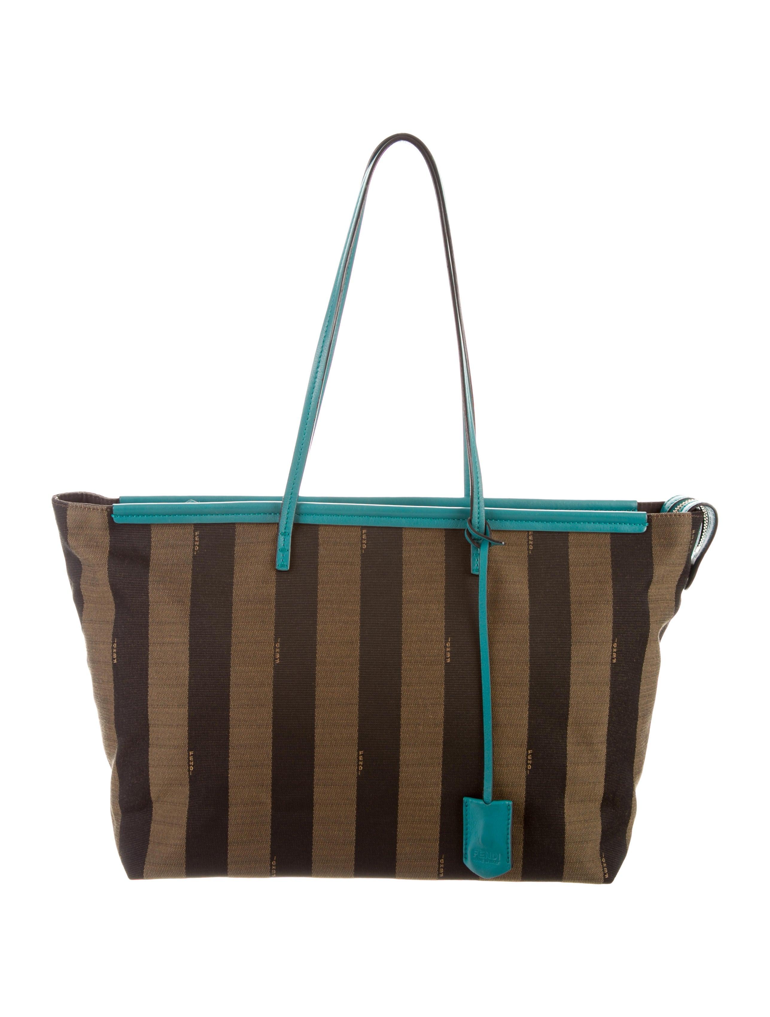 378b6309475c Fendi Leather-Trimmed Pequin Tote - Handbags - FEN76891