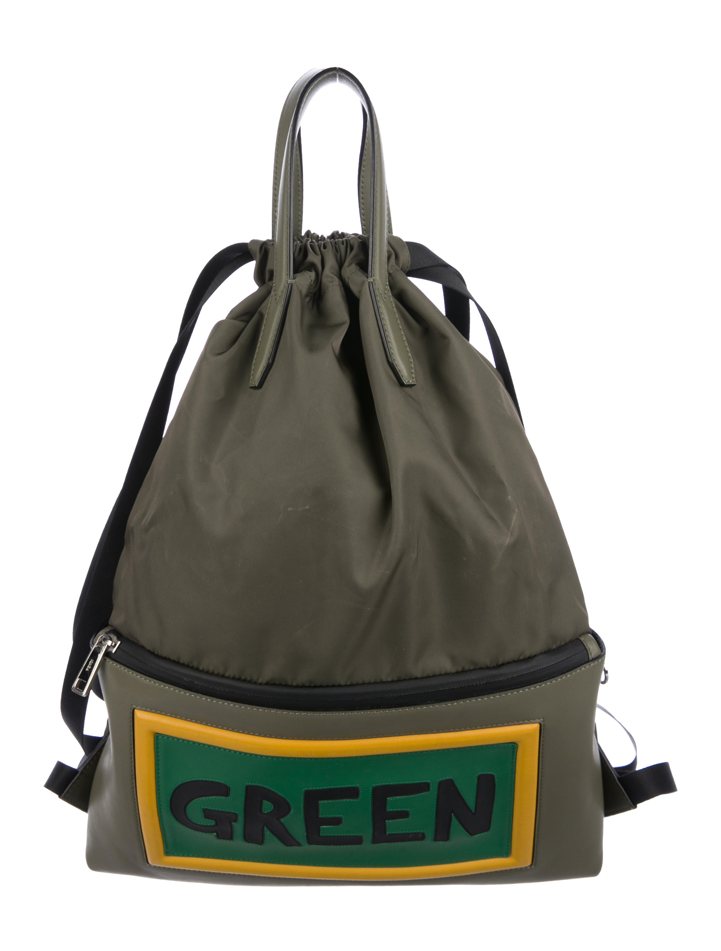 067cf6411243 Fendi Green Leather-Trimmed Drawstring Backpack - Bags - FEN79123 ...