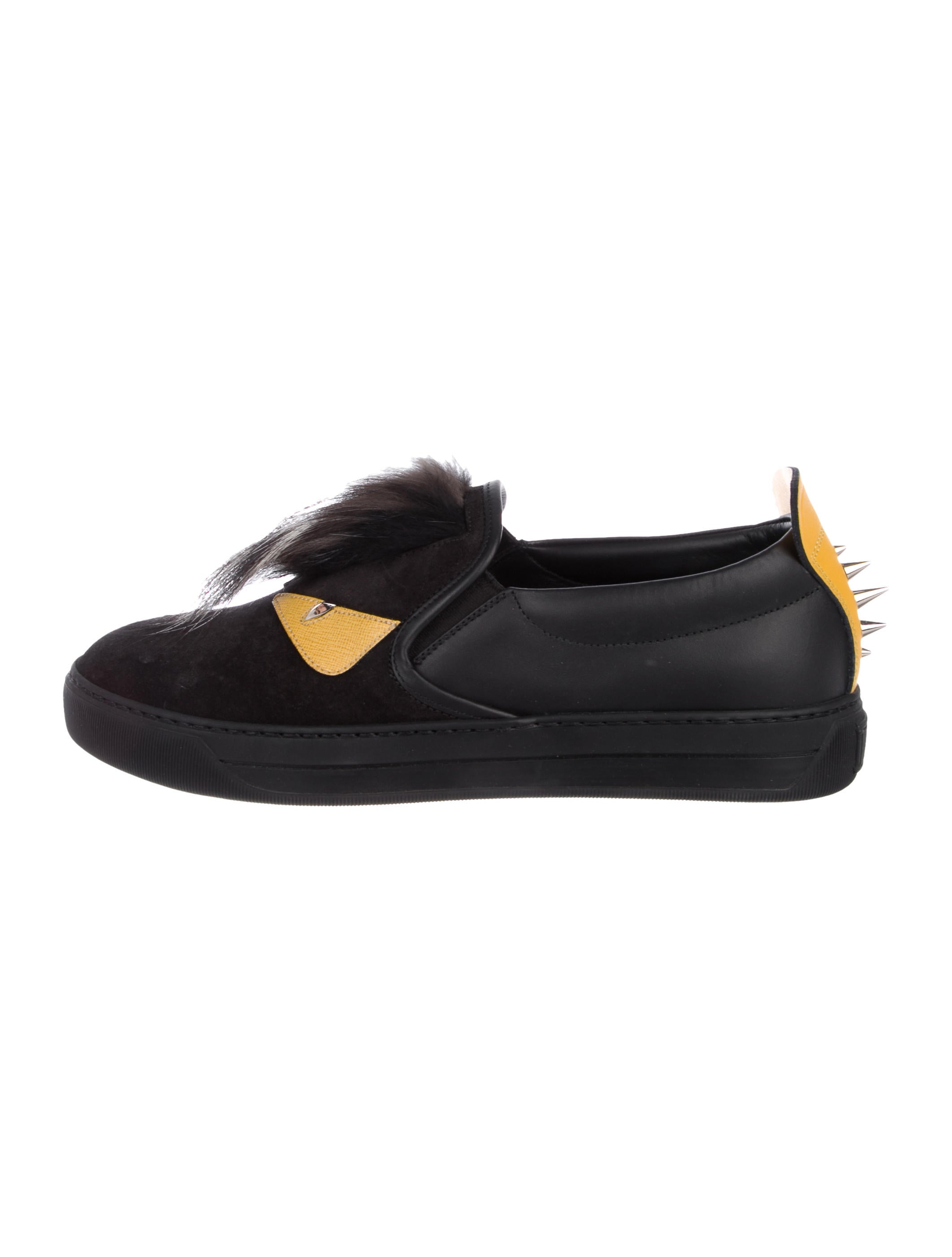 3cfbba4f8919 Fendi Fur-Trimmed Suede Monster Slip-On Sneakers w  Tags - Shoes ...