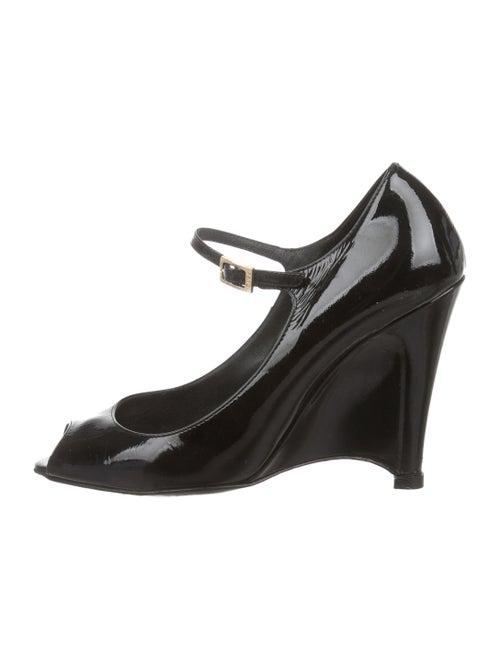 ee822d3e75106 Fendi Patent Leather Peep-Toe Wedge Pumps - Shoes - FEN97177 | The ...