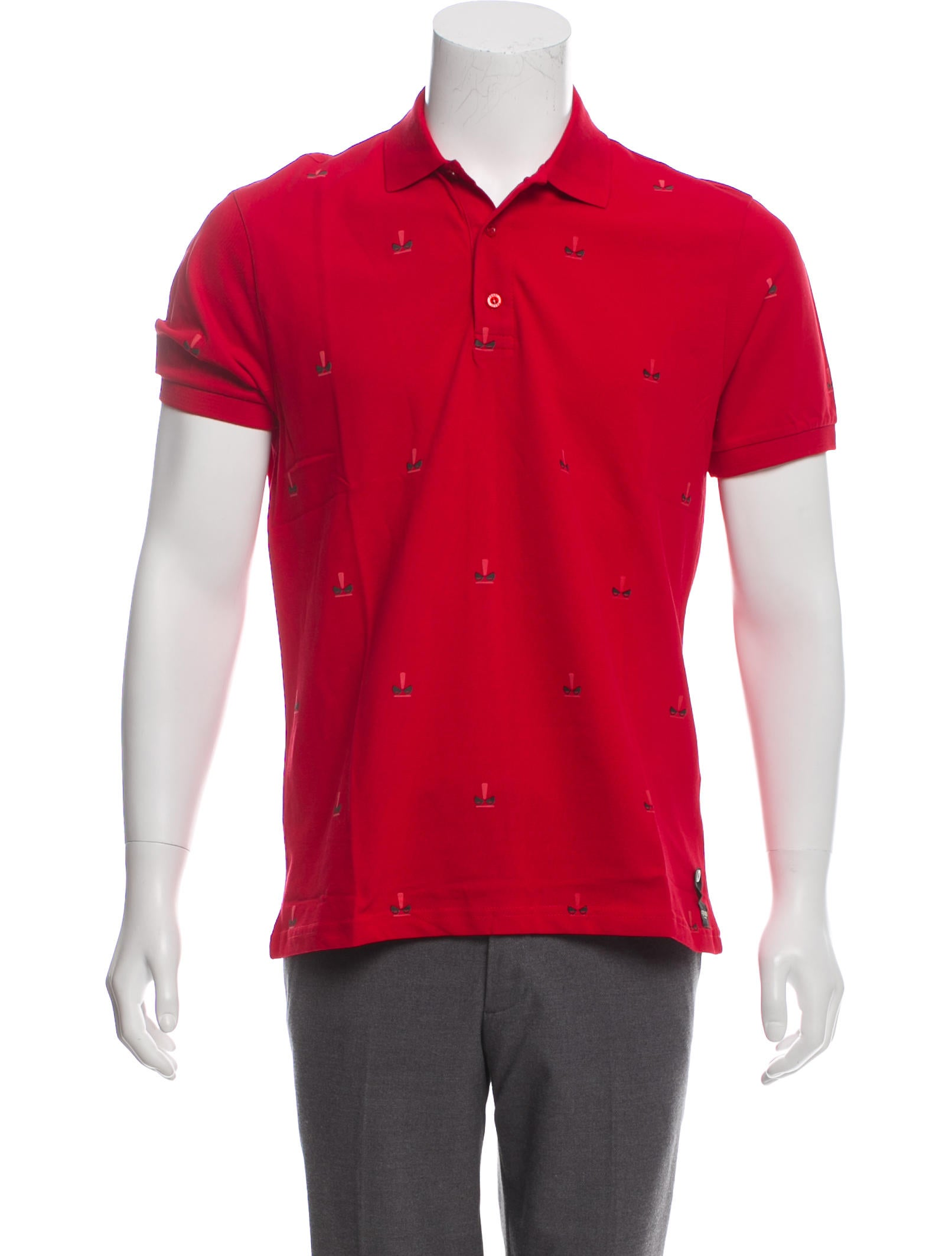 855454076 Fendi Short Sleeve Monster Eye Graphic Polo Shirt w/ Tags - Clothing ...