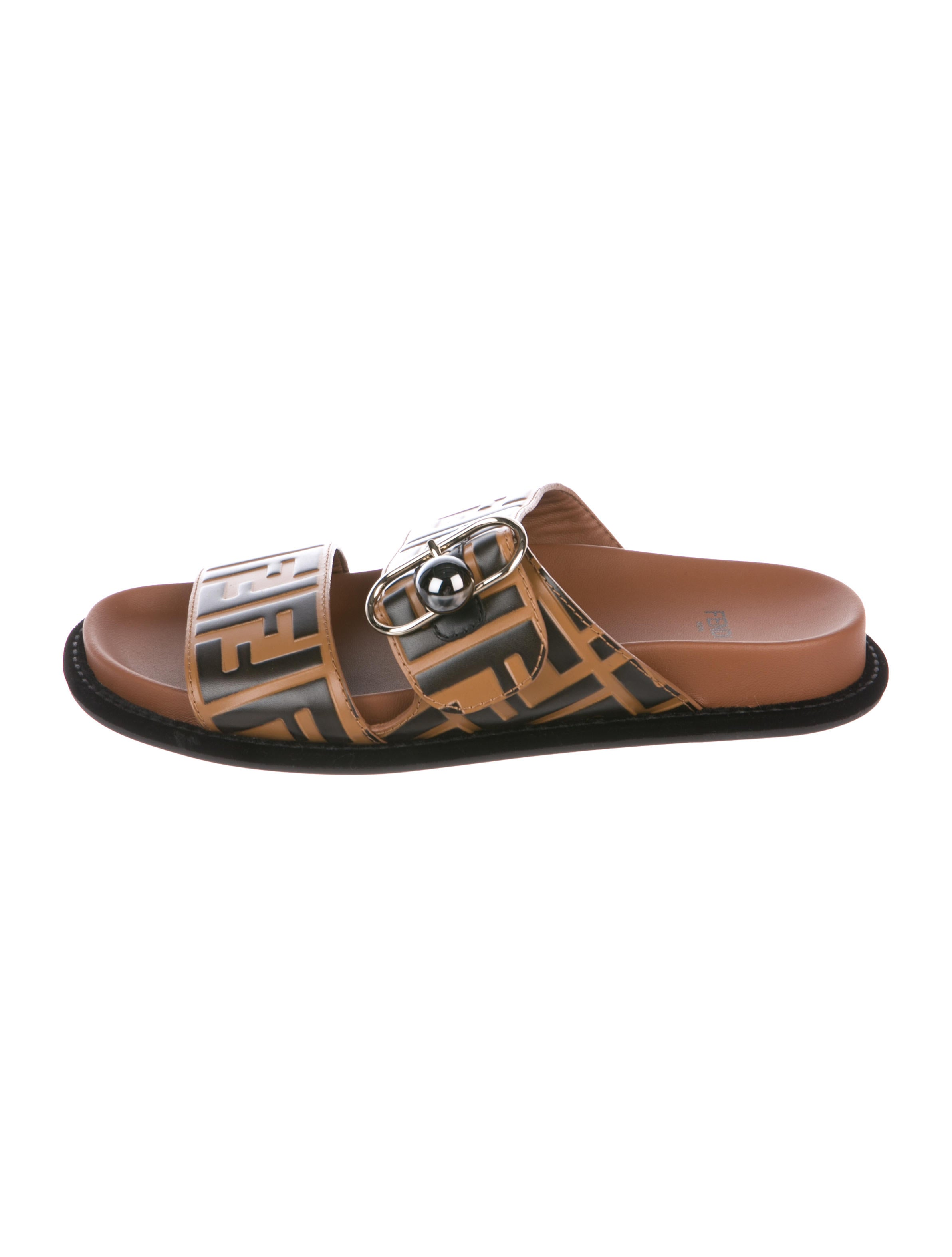 Fendi Pearland FF Leather Slide Sandals