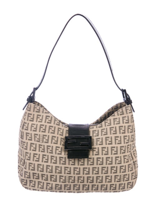 20a0f31b4cc1 Fendi Leather-Trimmed Zucchino Hobo - Handbags - FEN99631