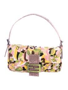 09901a2222a Fendi. Lizard-Trimmed Embroidered Baguette Bag