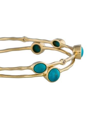 Turquoise & Diamond Bangle Bracelets Set