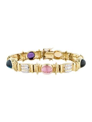 18K Gold Multi-Gem and Diamond Link Bracelet None