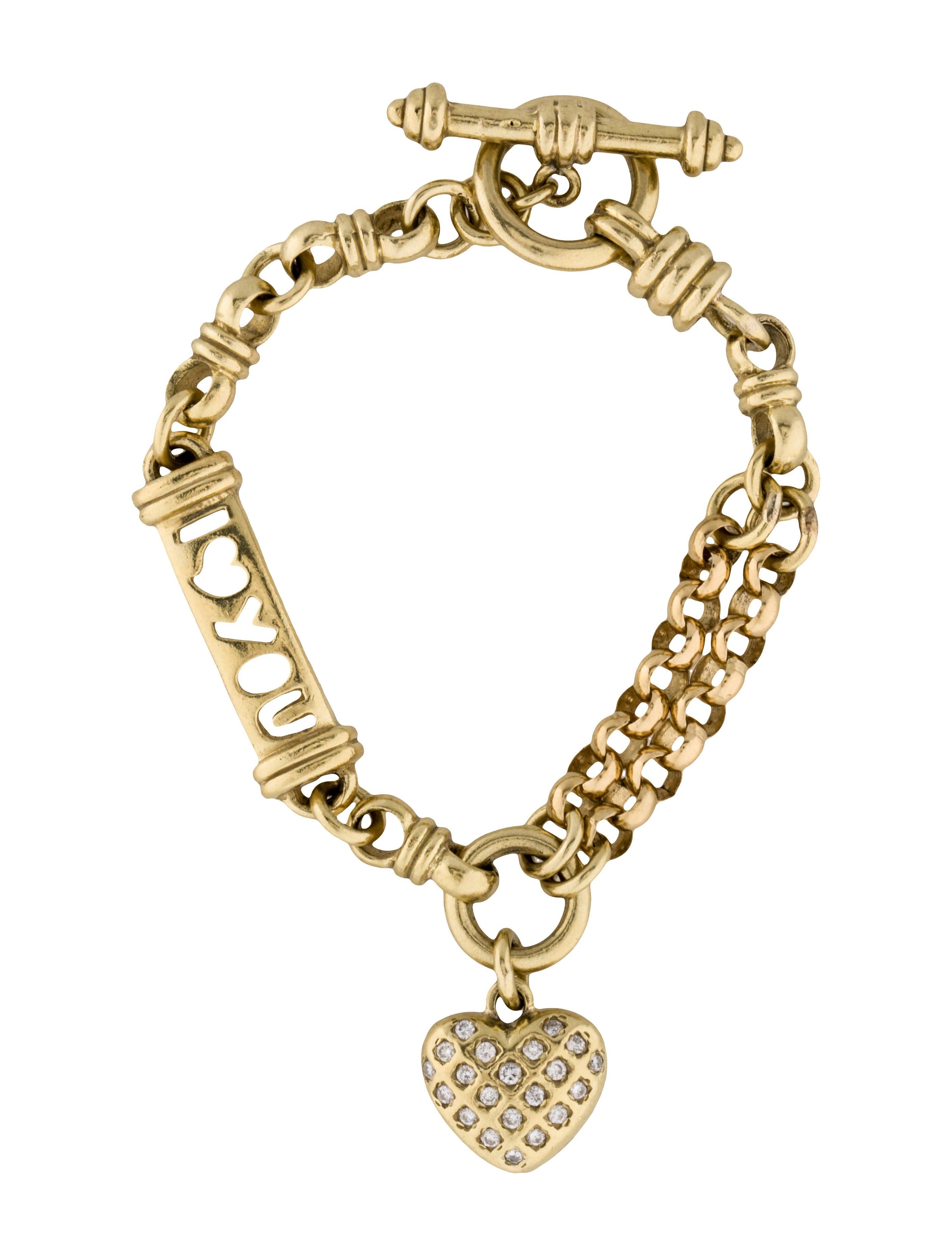 18k diamond heart charm bracelet bracelets fjb22403