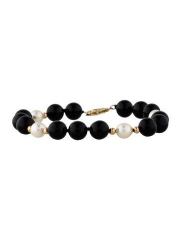 14K Onyx and Pearl Bracelet