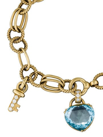 18K Topaz Heart and Key Bracelet