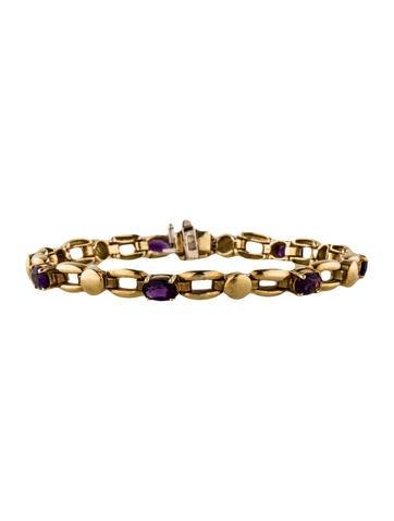 18K Amethyst Link Bracelet None